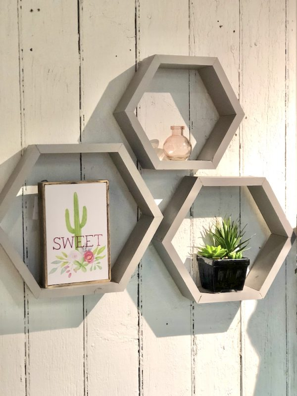 wooden hexagon shelves set